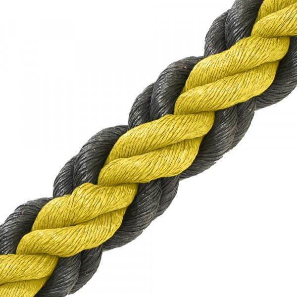 Hockeytouw geel/zwart/30 meter