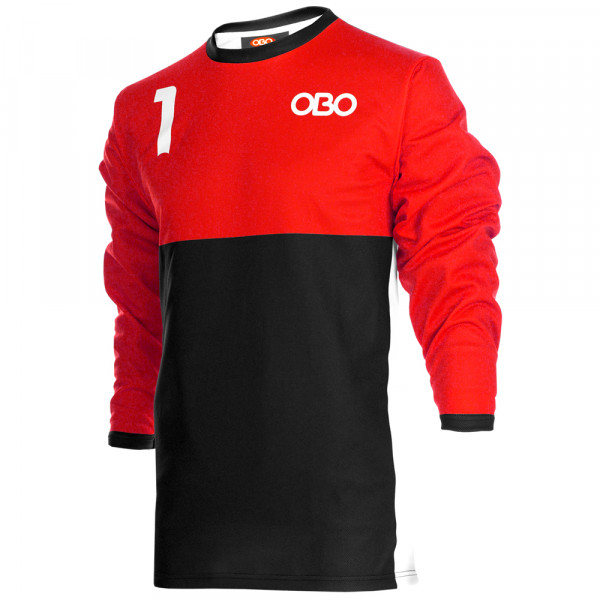 Obo custom goalieshirt red/black